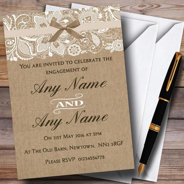Vintage Burlap & Lace Personalised Engagement Party Invitations