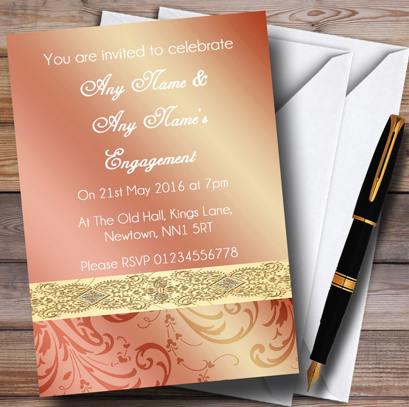 Peach Coral Damask Engagement Party Personalised Invitations