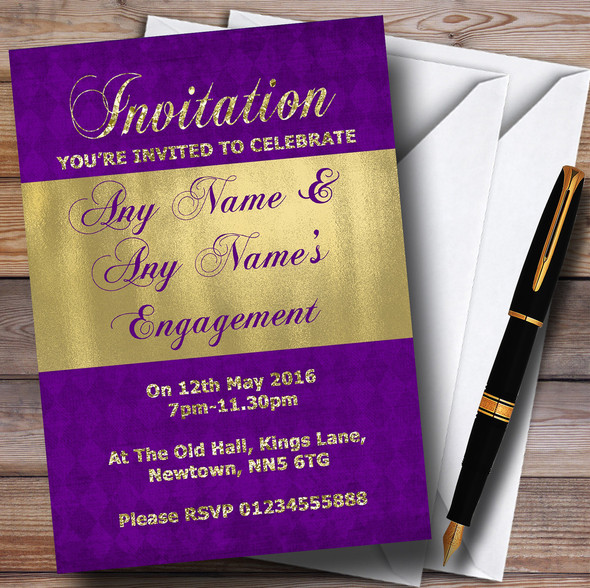 Purple And Glitter Look Gold Engagement Party Personalised Invitations