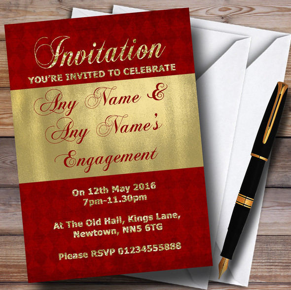 Red And Glitter Look Gold Engagement Party Personalised Invitations