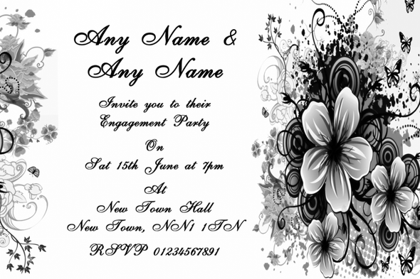 Black White Flowers Butterfly Engagement Party Personalised Invitations