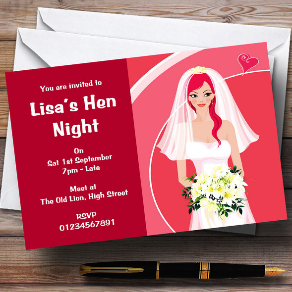 Hot Pink Bride To Be Personalised Hen Do Night Party Invitations