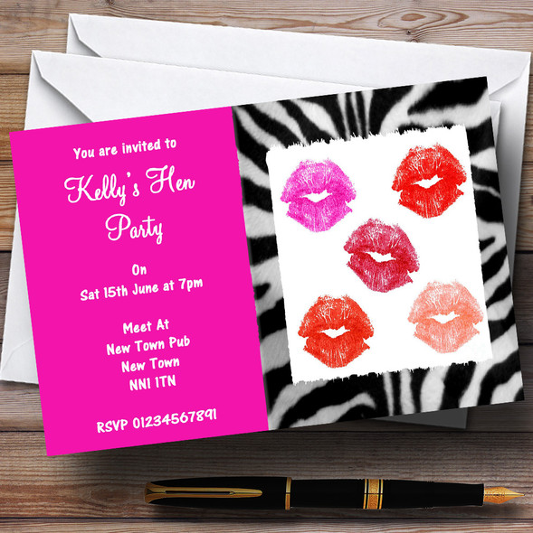 Hen Lipstick Kisses Makeover Hen Personalised Hen Do Night Party Invitations