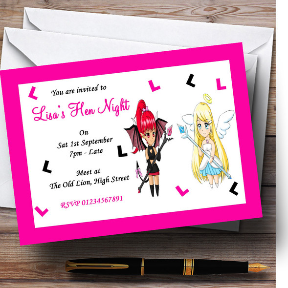 Pink And Black Devil And Angel Personalised Hen Do Night Party Invitations