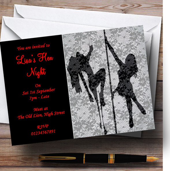 Lace And Sexy Lady Pole Dancers Personalised Hen Do Night Party Invitations