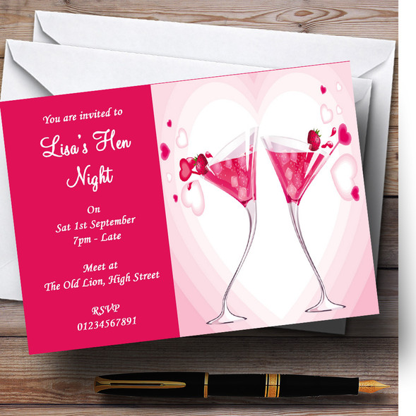 Pink Strawberry Cocktails Personalised Hen Do Night Party Invitations