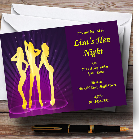 Purple And Yellow Dancing Ladies Personalised Hen Do Night Party Invitations