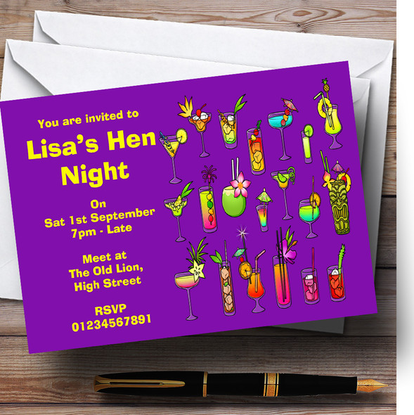 Purple Cocktails Personalised Hen Do Night Party Invitations