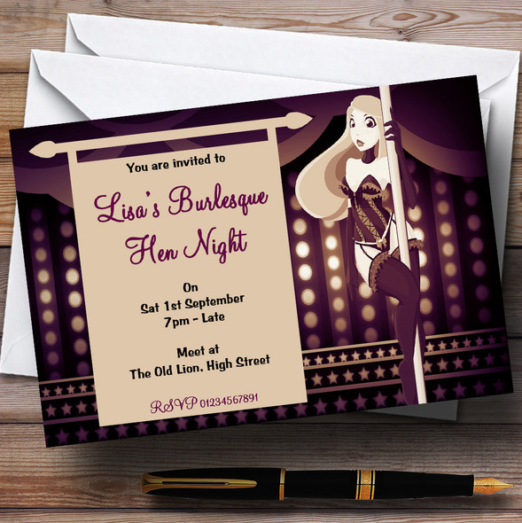Purple Sexy Burlesque Dancer Personalised Hen Do Night Party Invitations