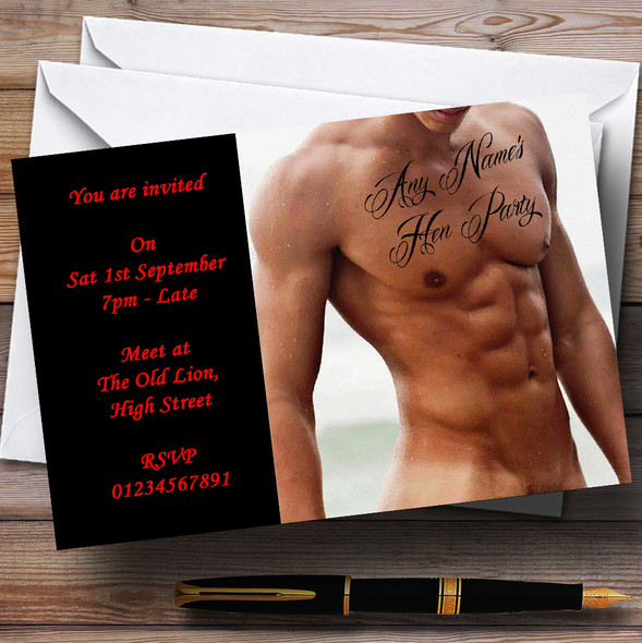 Sexy Man Tattoo Stripper Personalised Hen Do Night Party Invitations