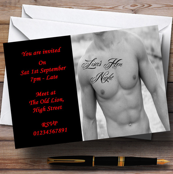 Tattoo Sexy Male Stripper Personalised Hen Do Night Party Invitations