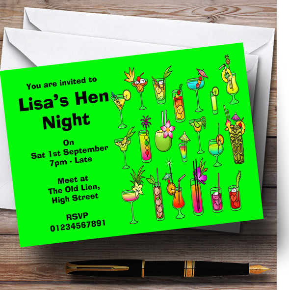 Green Cocktails Personalised Hen Do Night Party Invitations