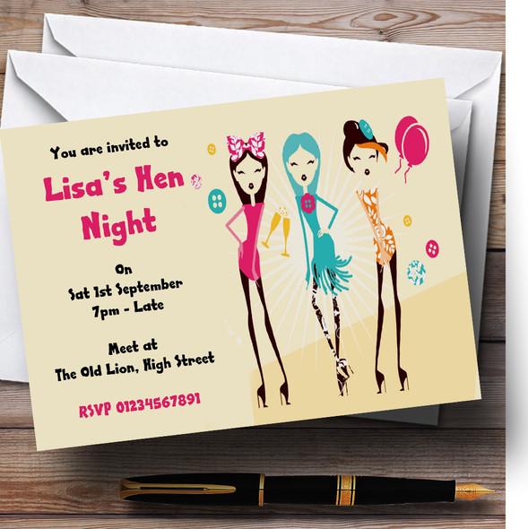 Girls Having Fun Personalised Hen Do Night Party Invitations
