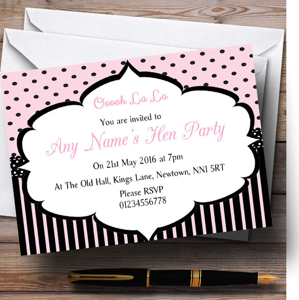 Pink And Black Stripes And Polkadots Paris Chic Hen Party Personalised Invitations