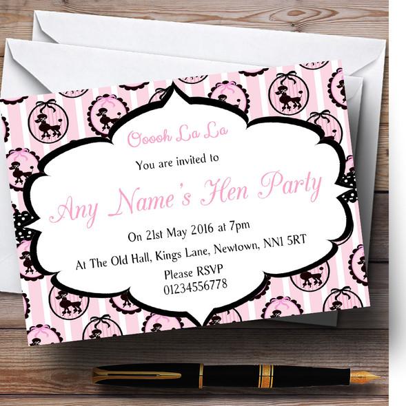 Pink Paris Poodle Paris Chic Hen Party Personalised Invitations