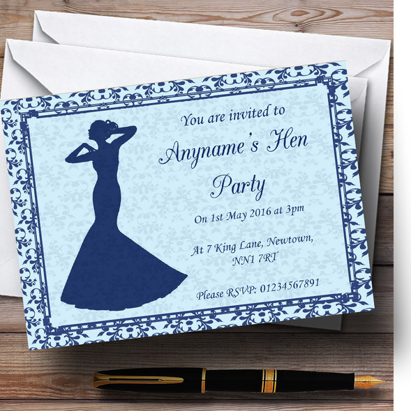 Blue Classic Vintage Personalised Hen Party Invitations
