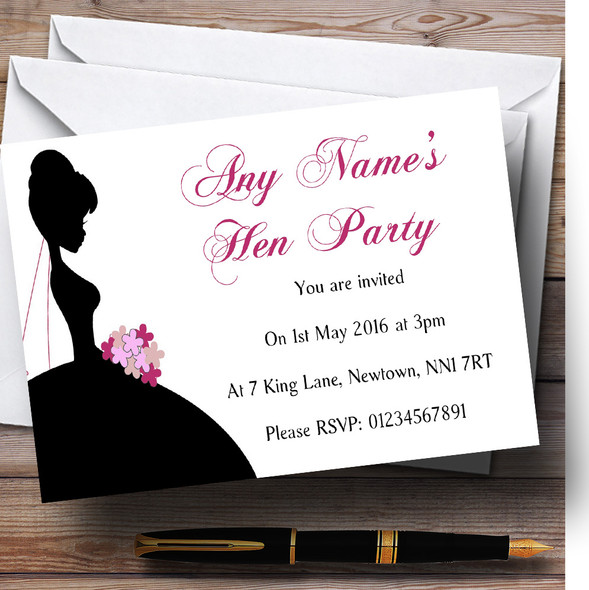 Bride Shadow Personalised Hen Party Invitations