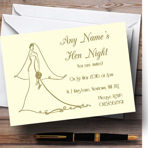 Cream Elegant Personalised Hen Party Invitations