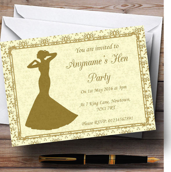 Gold Yellow Classic Personalised Hen Party Invitations
