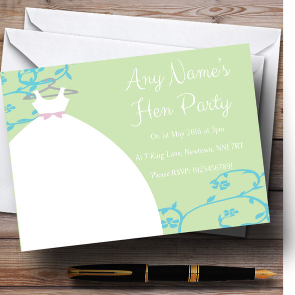 Green Blue Personalised Hen Party Invitations