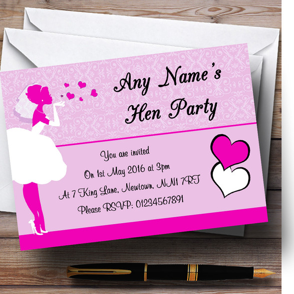 Hot Pink Bride Hearts Personalised Hen Party Invitations