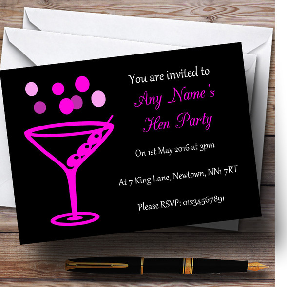Hot Pink Cocktail Personalised Hen Party Invitations