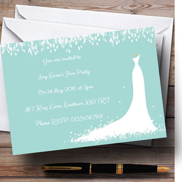Minimal Turquoise Classic Personalised Hen Party Invitations