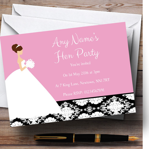 Pink Black Damask Bride Personalised Hen Party Invitations