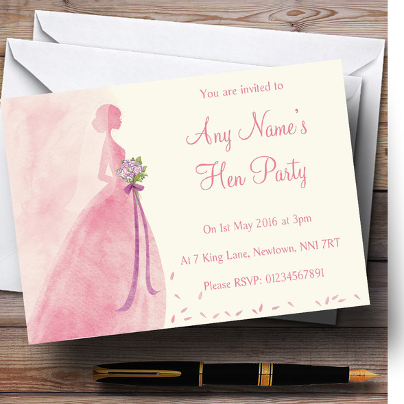 Pink Classic Bride Personalised Hen Party Invitations
