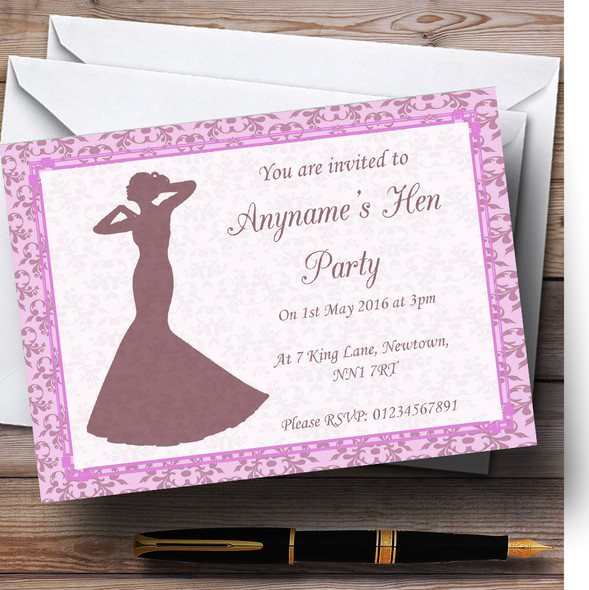 Pink Classic Vintage Personalised Hen Party Invitations