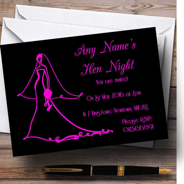 Pink Elegant Personalised Hen Party Invitations