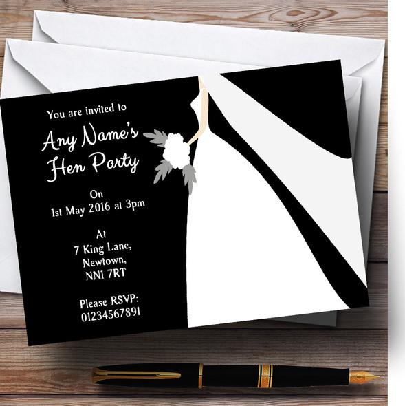 Black Bride Personalised Hen Party Invitations