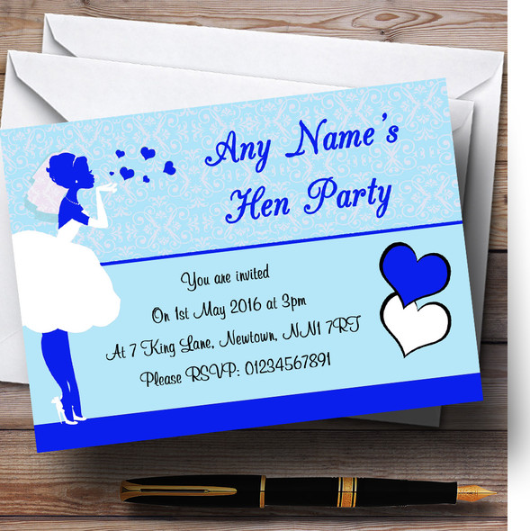 Blue Bride Hearts Personalised Hen Party Invitations