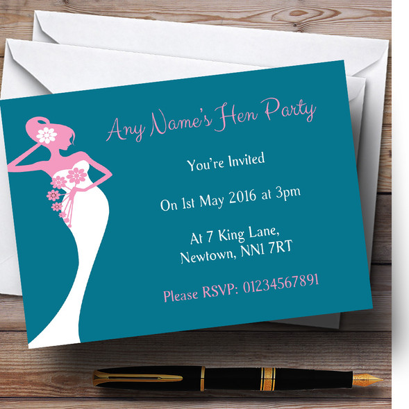Pink Turquoise Bride Personalised Hen Party Invitations