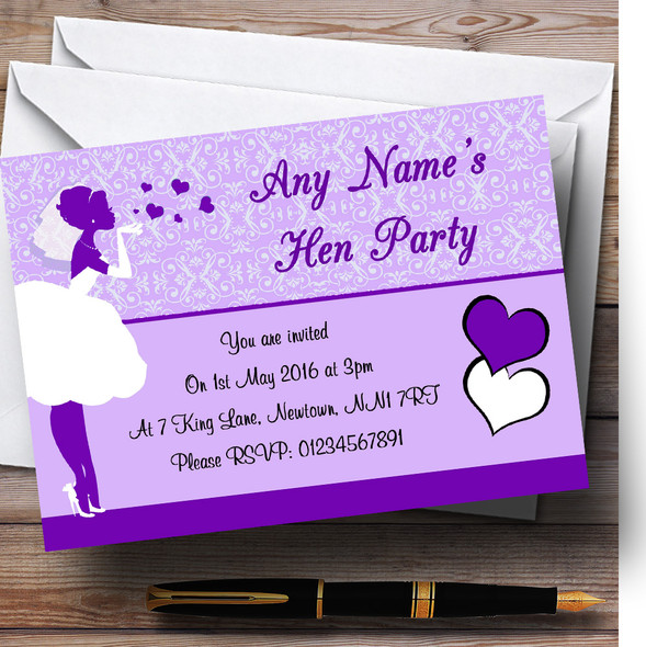 Purple Bride Hearts Personalised Hen Party Invitations