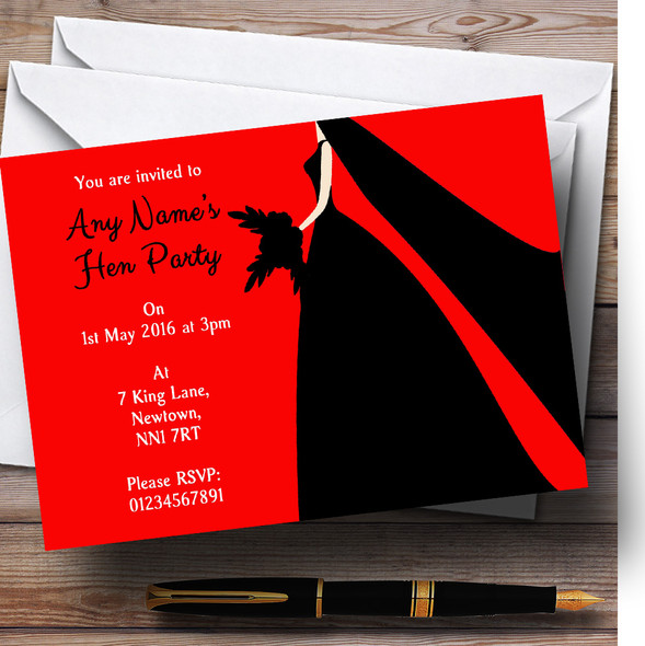 Red Black Bride Personalised Hen Party Invitations