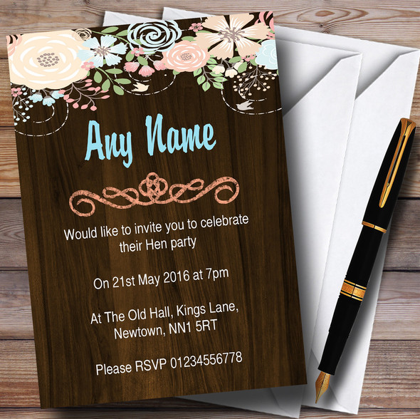 Shabby Chic Pastel And Wood Personalised Hen Party Invitations