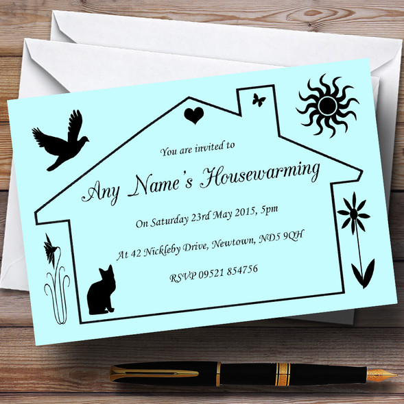 Blue Design Housewarming Party Personalised Invitations