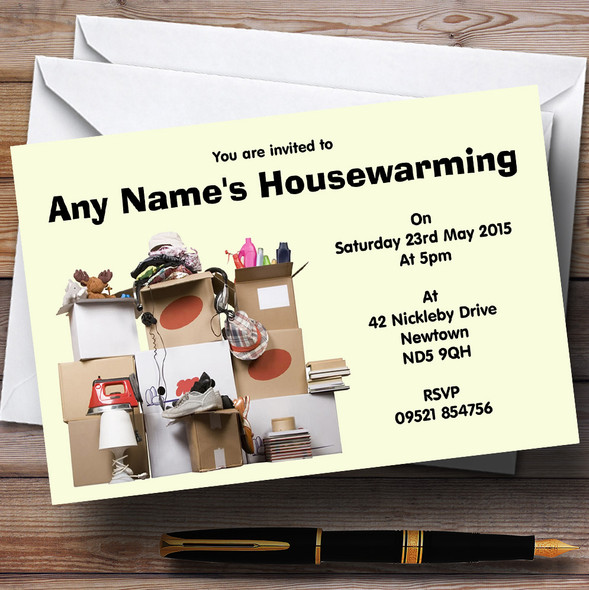 Boxes New Home Housewarming Party Personalised Invitations