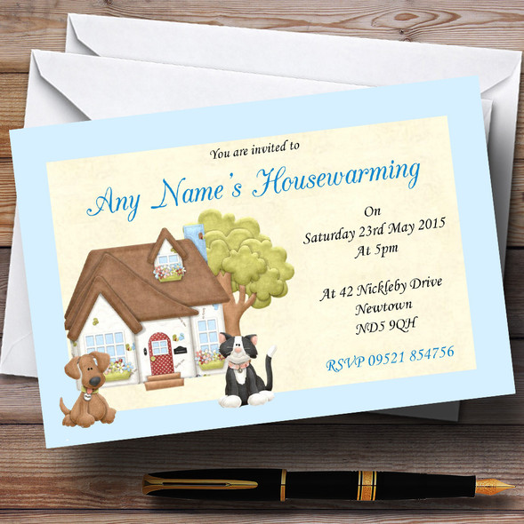 Dog And Cat Housewarming Party Personalised Invitations