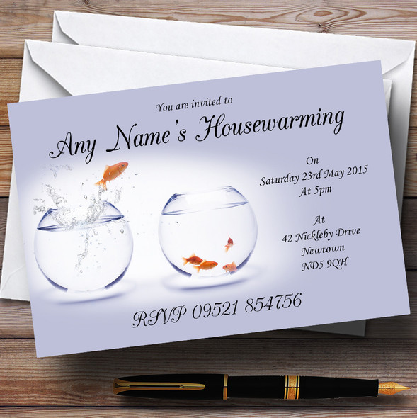 Goldfish New Home Housewarming Party Personalised Invitations
