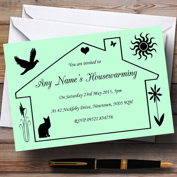 Green Design Housewarming Party Personalised Invitations