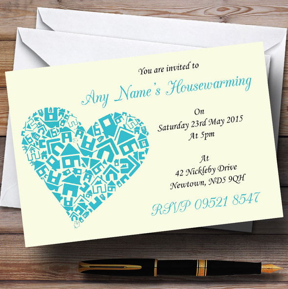 Heart New Home Housewarming Party Personalised Invitations