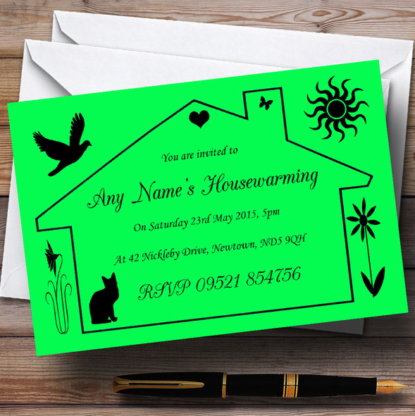 Lime Green Design Housewarming Party Personalised Invitations