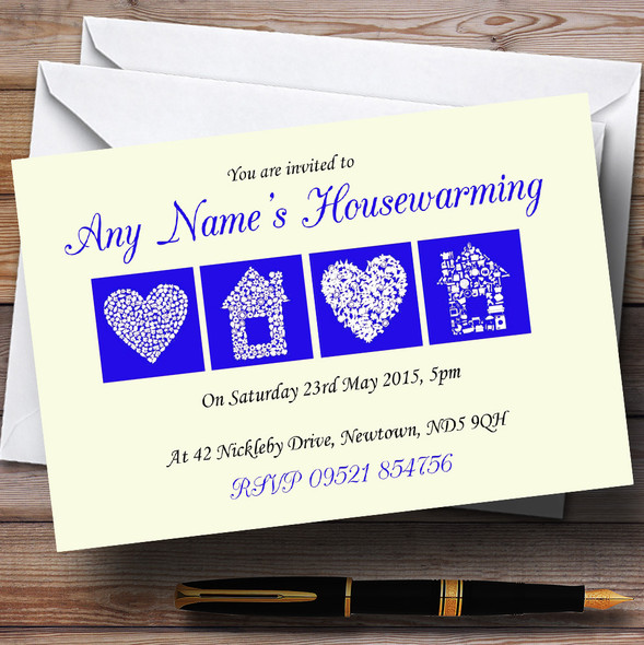 Pale Yellow And Blue Housewarming Party Personalised Invitations