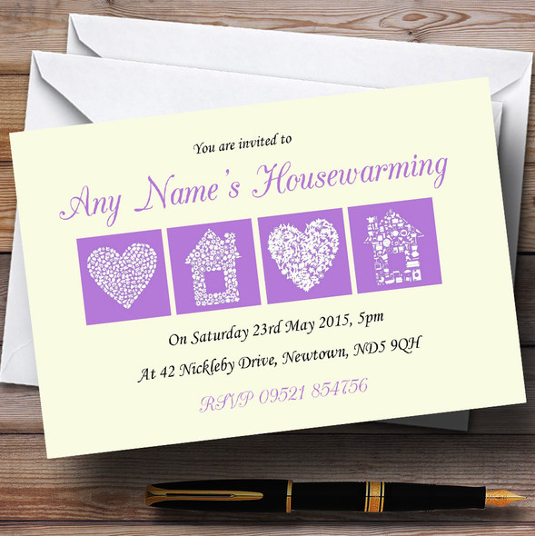 Pale Yellow And Lilac Housewarming Party Personalised Invitations