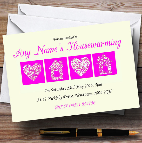 Pale Yellow And Magenta Housewarming Party Personalised Invitations