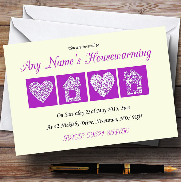 Pale Yellow And Purple Housewarming Party Personalised Invitations