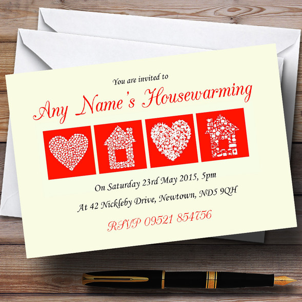 Pale Yellow And Red Housewarming Party Personalised Invitations
