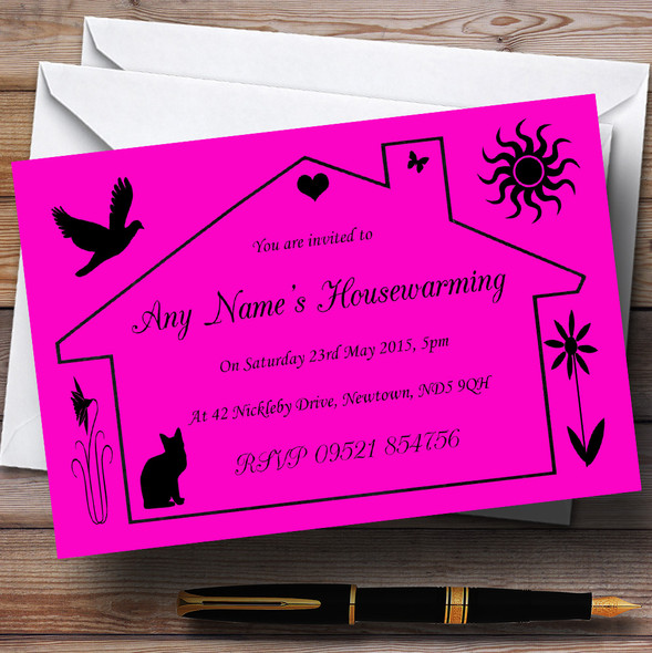 Pink Design Housewarming Party Personalised Invitations